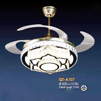 Quạt trần đèn Verona Ø500 x H750, cánh quạt 1100, Ánh sáng 3 chế độ QT-A107