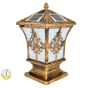 Đèn Trụ Cổng Vuông 5W: Nắp: Ø250-E27 - Đế: Ø195*H441, Vỏ Vàng Đồng SOLAR-36