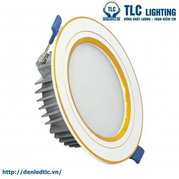Đèn Led âm trần khối đúc TOS viền vàng (3 màu) TLC-ATO-VV-3M