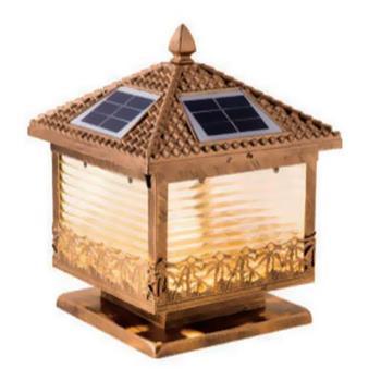Đèn trụ cổng năng lượng mặt trời vuông E27-Led 3W, ánh sáng vàng TNL-01