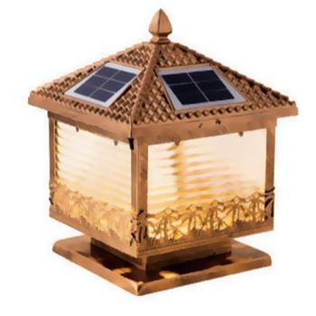 Đèn trụ cổng năng lượng mặt trời vuông E27-Led 4W, ánh sáng vàng TNL-02