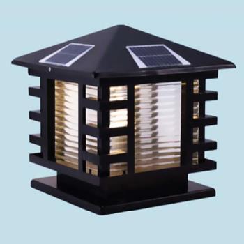 Đèn trụ cổng năng lượng mặt trời vuông E27-Led 5W, ánh sáng vàng TNL-13