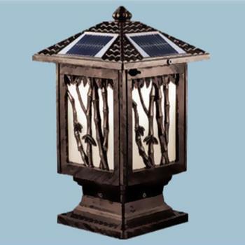 Đèn trụ cổng năng lượng mặt trời vuông E27-Led 5W, ánh sáng vàng TNL-15
