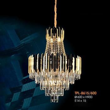 Đèn thả pha lê Verona Ø600 x H900, E14 x 15 TPL-8615/600