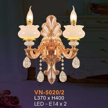 Đèn vách nến chao đá ngọc Verona L370xH400, LED - E14x2 VN-5020/2