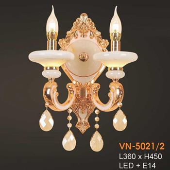 Đèn vách nến chao đá ngọc Verona L360xH450, LED + E14 VN-5021/2