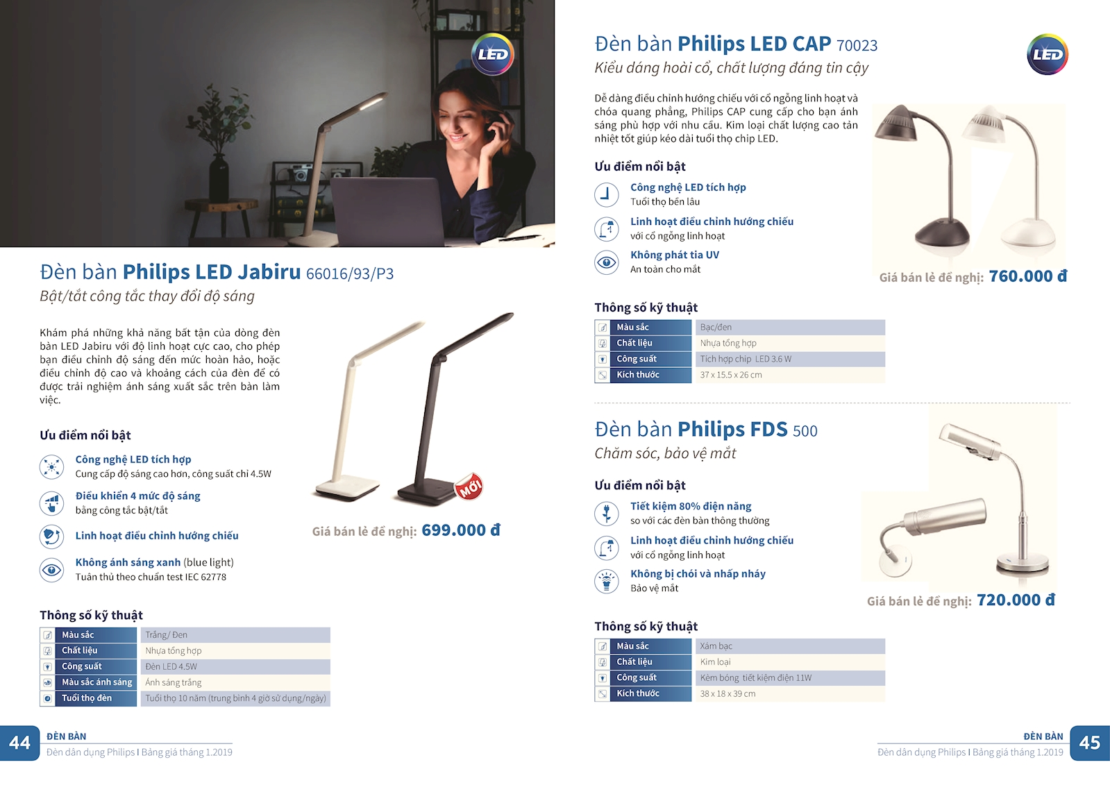 Đèn sạc Led 30504 36x0.07W Philips
