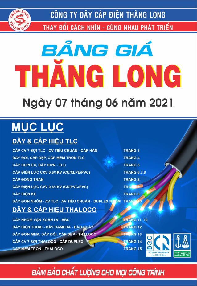 Bảng Giá Cáp Điện Thăng Long 06/2021